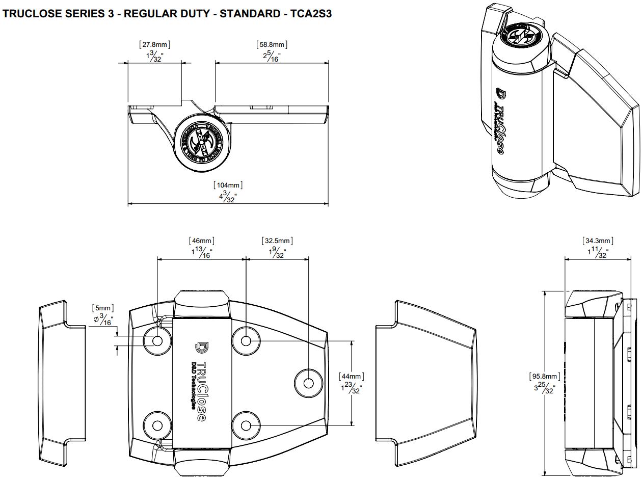 TruClose Standard Gate Hinge TCA2S3
