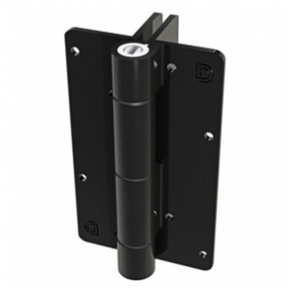 Aluminum Adjustable Self-Closing Gate Hinge, 2 Side Fixing Legs, No Screws - D&D KF3L2BL (Single) - Black