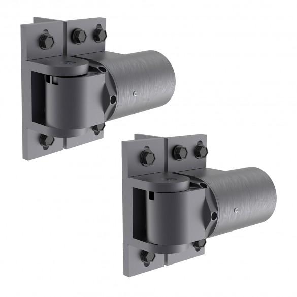 D&D SureClose ReadyFit 180° Heavy-Duty Self-Closing Screw-On Gate Hinge-Closer Set - Aluminum (Pair) 74108333T