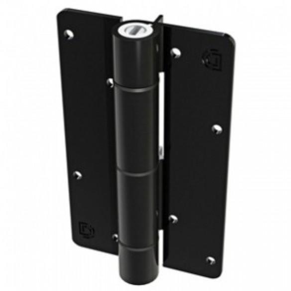 Aluminum Adjustable Self-Closing Gate Hinge, Aluminum Ridges, No Screws - D&D KF3BL (Single) - Black