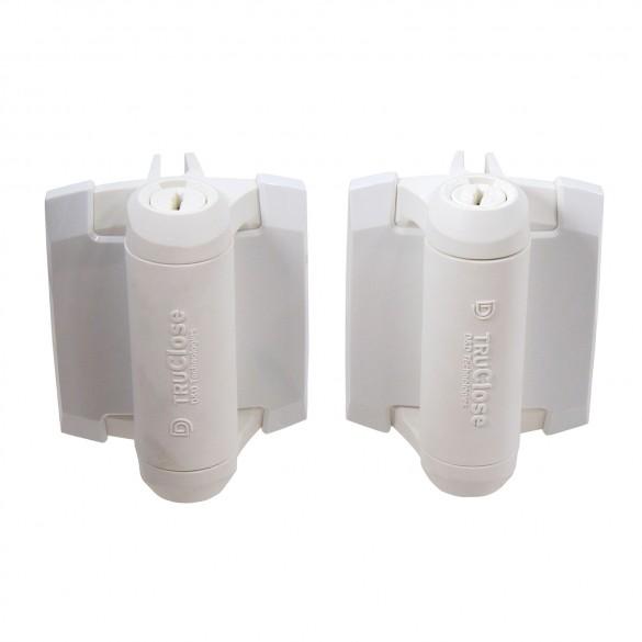 D&D TruClose Standard White Gate Hinge, 2 Side Legs-TCA1L2S3WT (Pair)