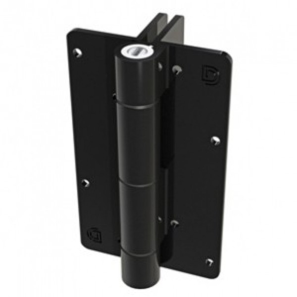 Aluminum Adjustable Self-Closing Gate Hinge, 2 Side Fixing Legs, No Screws - D&D KF3L2BL (Single) - Black