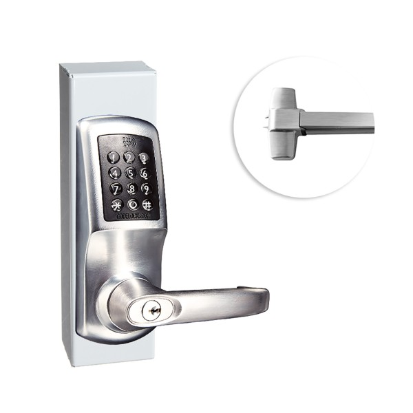 CodeLocks CL5510 Gate Panic Exit Hardware Kit With CL5510 Smart Lock (Brushed Steel) - 90836