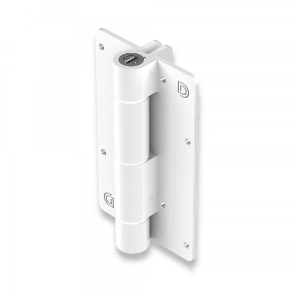 Aluminum Adjustable Self-Closing Gate Hinge, Aluminum Ridges, No Screws - D&D KF3WT (Single) - White