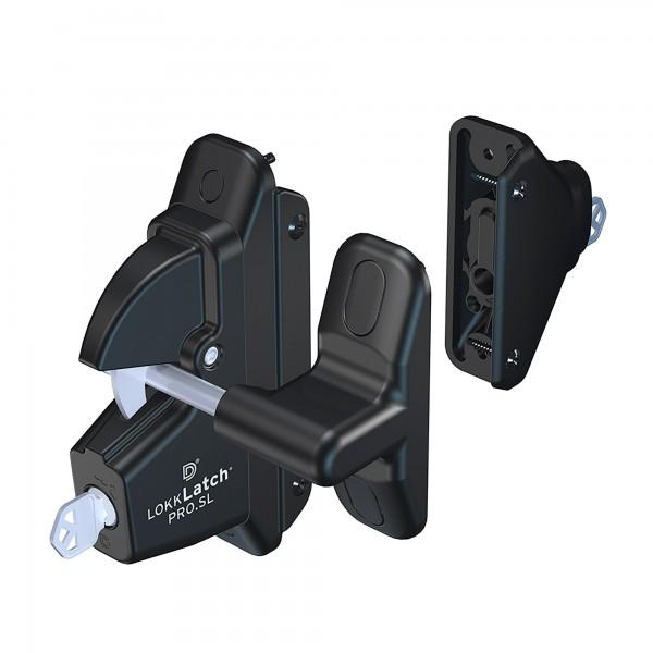 D&D LokkLatch Pro-SL Black Self Locking Security Latch For Metal and Wood Gates - LLP1S-K