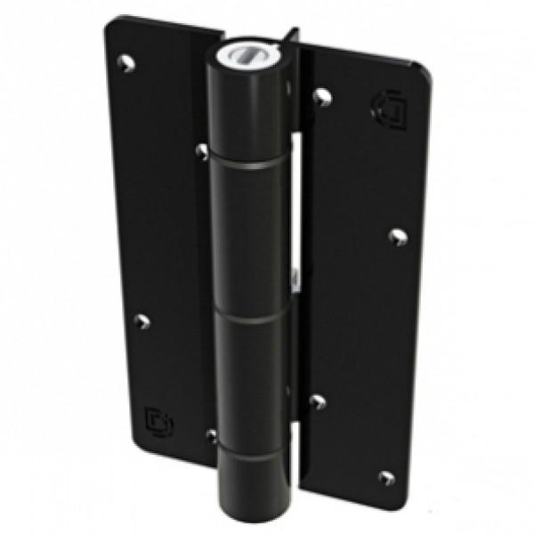 Aluminum Adjustable Self-Closing Gate Hinge, Alignment Ridges, Screws - D&D KF3BLS (Pair) - Black