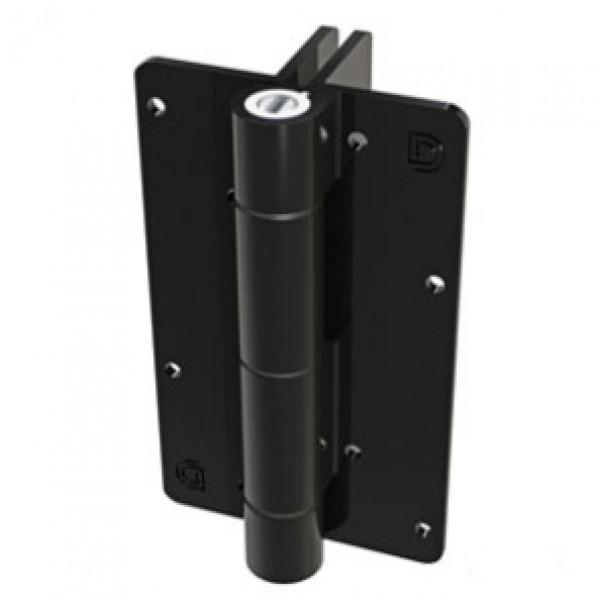 Aluminum Adjustable Self-Closing Gate Hinge, 2 Side Fixing Legs, Screws - D&D KF3L2BLS (Pair) - Black